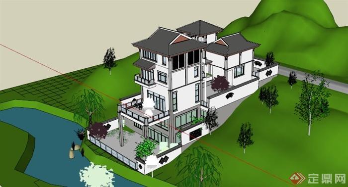 中式山水别墅设计su模型[原创]