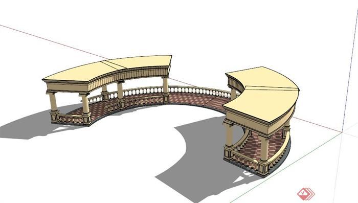 欧式对称式弧形廊架设计su模型[原创]
