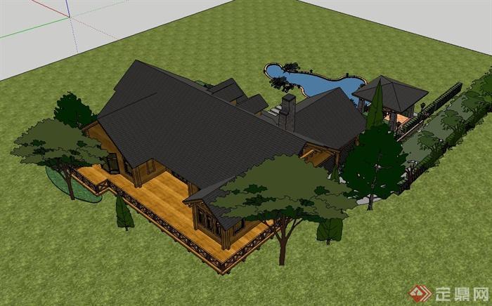 某欧式独栋别墅复结构木屋设计su模型[原创]图片