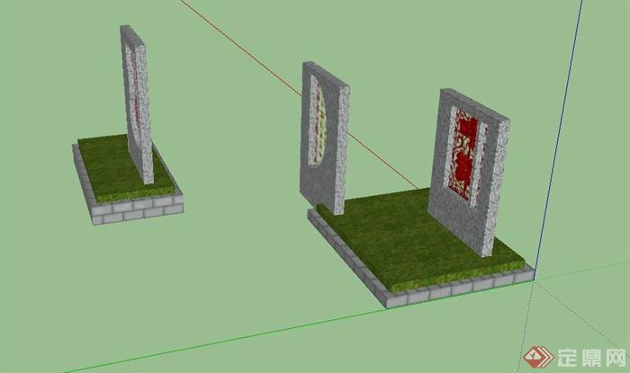 现代中式风格文化景墙设计su模型(3)