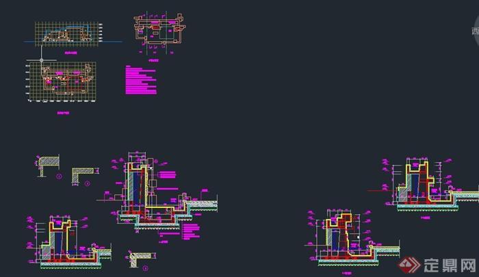 园林景观节点跌水池设计CAD施工图