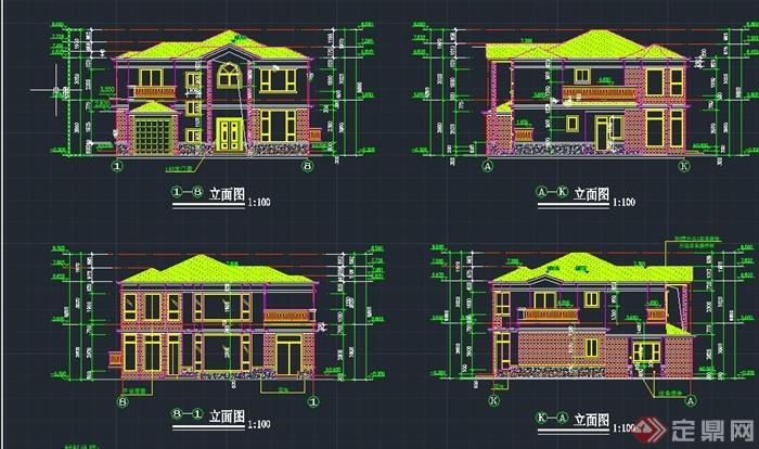 两层乡村自建别墅建筑设计cad施工图图片