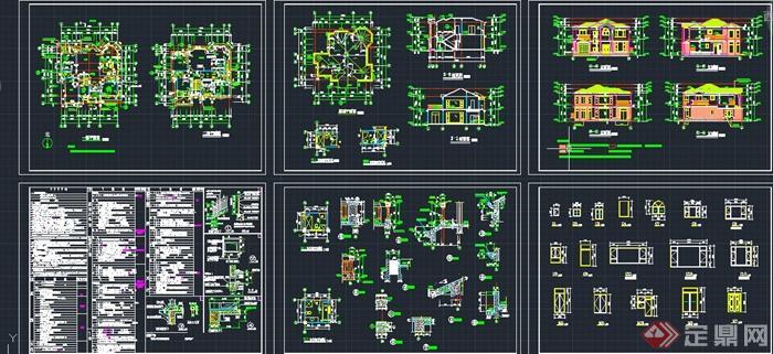 两层乡村自建别墅建筑设计cad施工图