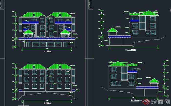 四层现代联排别墅建筑设计CAD施工图
