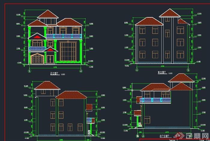 三层精致小别墅建筑设计CAD施工图