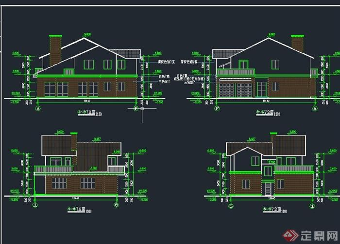 两层乡村独栋居民住宅建筑设计cad施工图