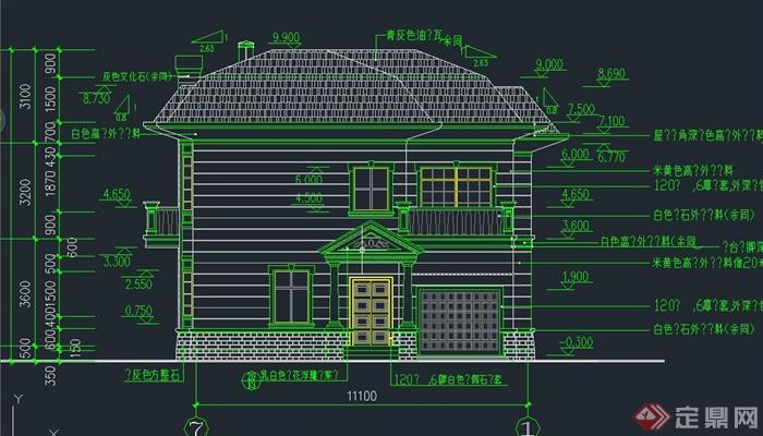 某欧式两层小别墅建筑设计cad施工图