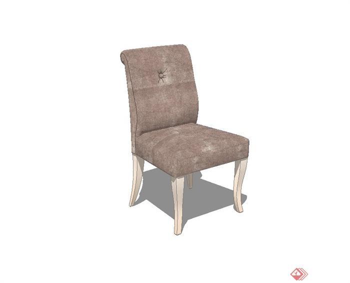 现代木质布艺椅子设计su模型