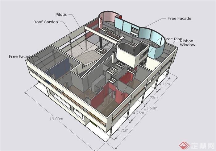 萨伏伊别墅建筑设计su模型