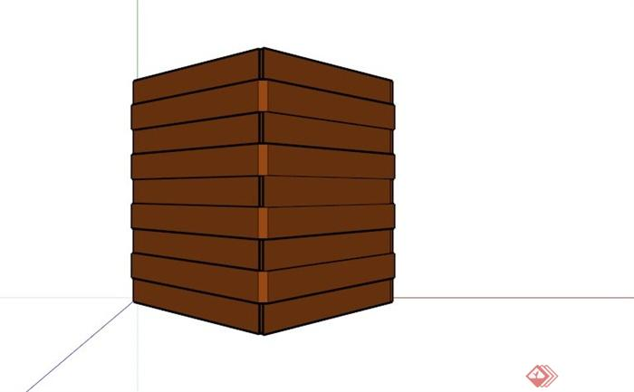 现代三角形镂空酒柜设计su模型