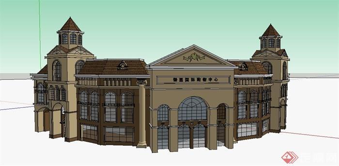 弧形两层欧式风格商业建筑设计su模型(1)