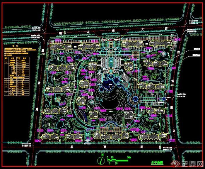 某小镇规划设计方案cad总平面图[原创]