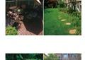 别墅庭院,庭院设计,遮阳伞桌椅组合,廊架,雕塑小品