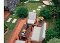 別墅庭院,庭院景觀,沙發組合,石板聽不,樓梯設計