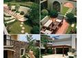 別墅庭院,庭院景觀,沙發組合,廊架,石板汀步