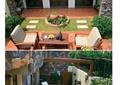 庭院景观,别墅庭院,桌椅组合,石板汀步,花钵小品,躺椅