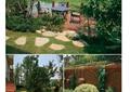 別墅庭院,庭院景觀,木圍欄,親水平臺,桌椅組合,石板汀步