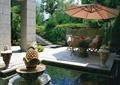 庭院,庭院景觀,庭院花園,水池,噴泉水池,傘桌椅