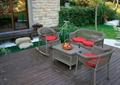 庭院景觀,木平臺,桌椅組合,景石,石板汀步