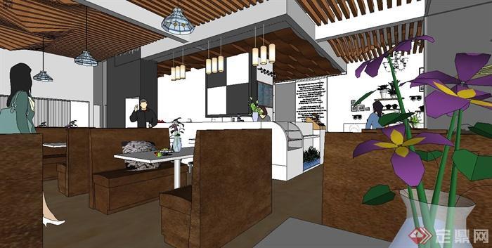 某现代风格休闲餐饮空间设计su模型[原创]