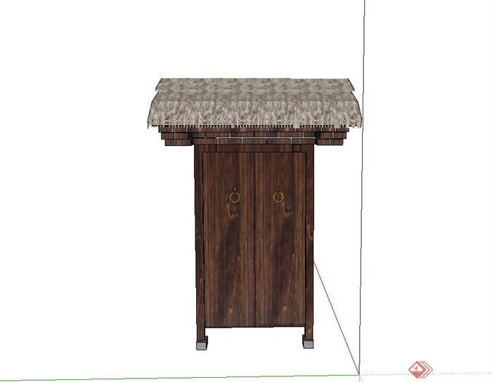 古典中式茅草屋檐门设计su模型(1)图片