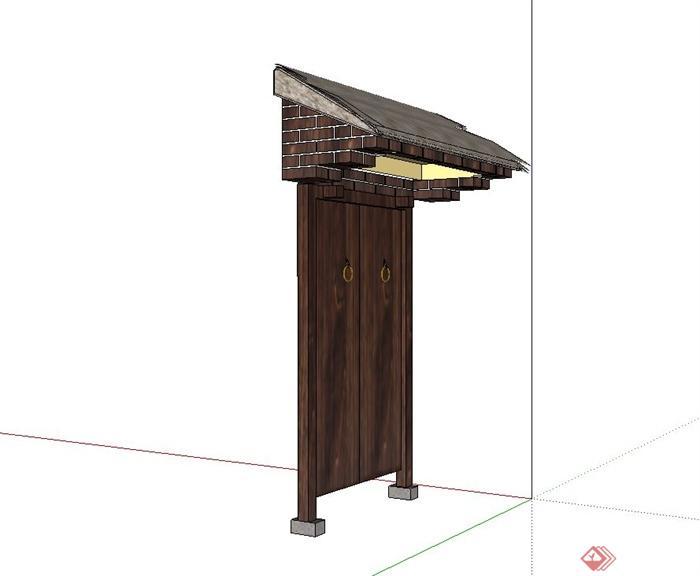 古典中式茅草屋檐门设计su模型(2)图片