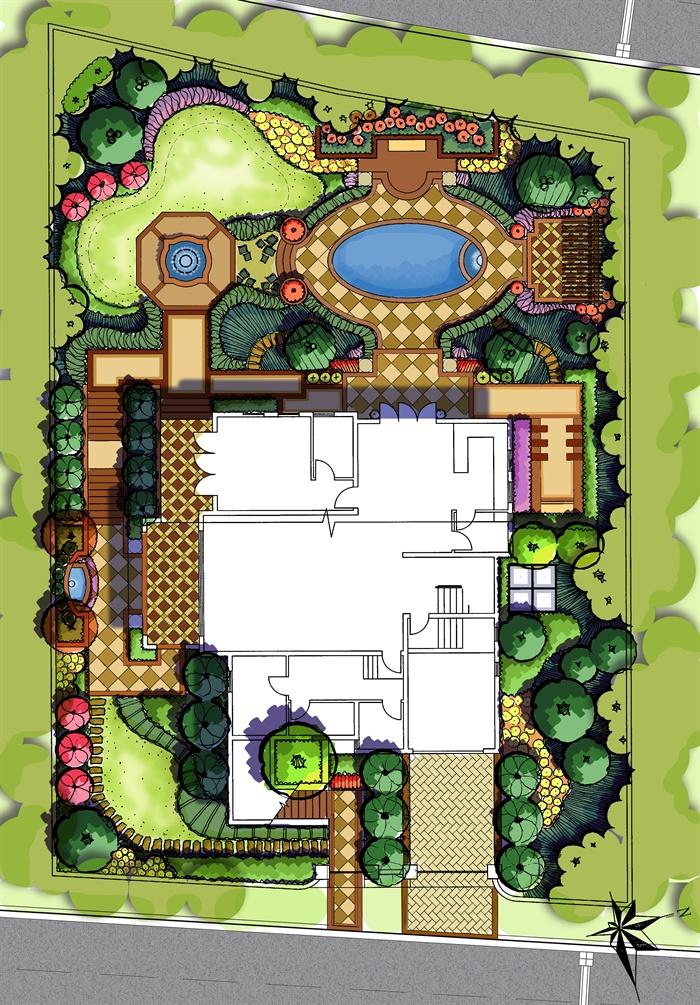欧式别墅庭院花园景观设计方案ps+jpg[原创]