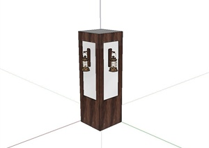 某现代中式室内柱子设计SU(草图大师)模型