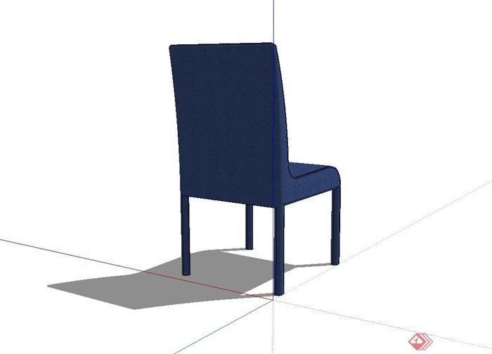 某现代风格蓝色椅子设计su模型