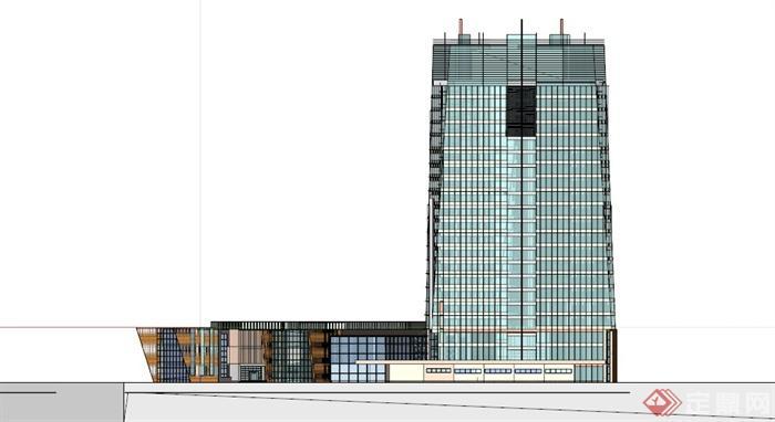 现代玻璃幕墙商住建筑设计su模型(3)