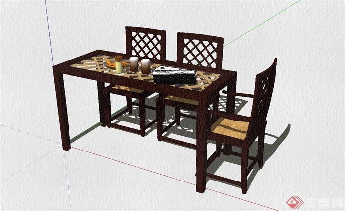 现代中式餐桌椅设计su模型[原创]