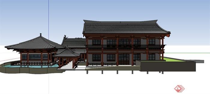 宋代文化古建筑设计su模型(4)