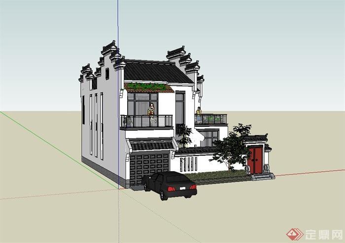 徽派中式风格住宅建筑设计su模型(2)图片