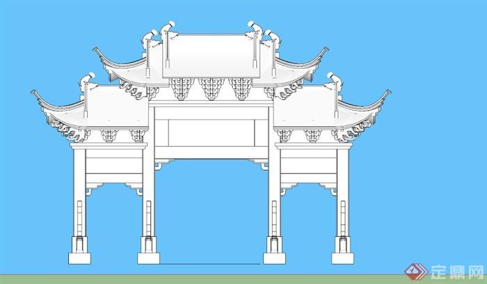 古典中式牌坊设计su模型素材(3)