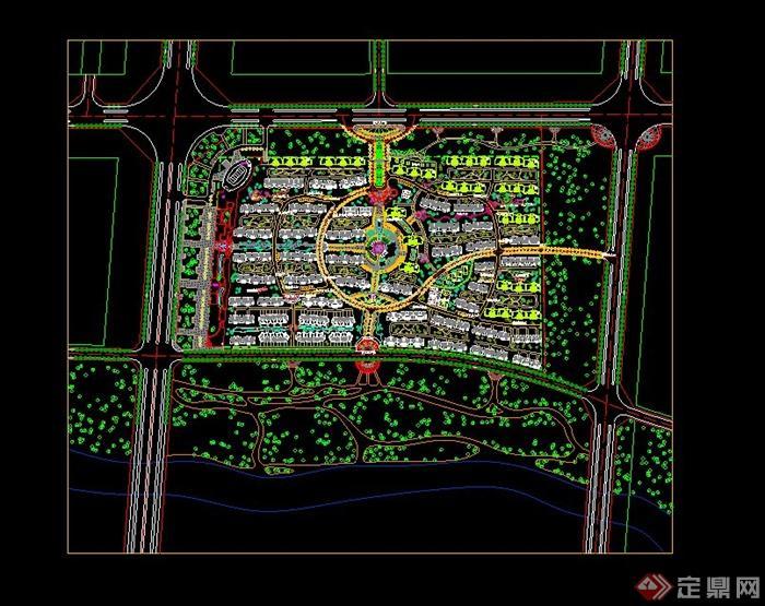 心小区规划设计cad总平面图图片