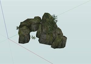 某寺庙精致景石设计SU(草图大师)模型
