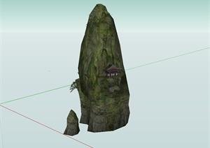 某石头上的建筑设计SU(草图大师)模型