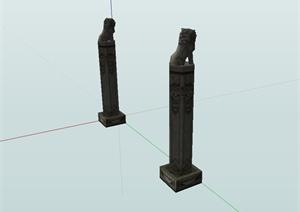 古典中式风格景观柱设计SU(草图大师)模型含狮子雕塑