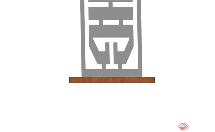 现代中式木镂空窗花su模型(2)