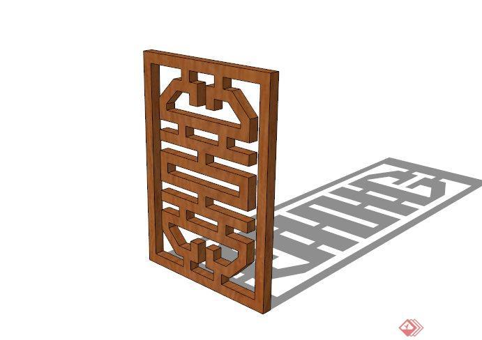 现代中式木镂空窗花su模型(1)