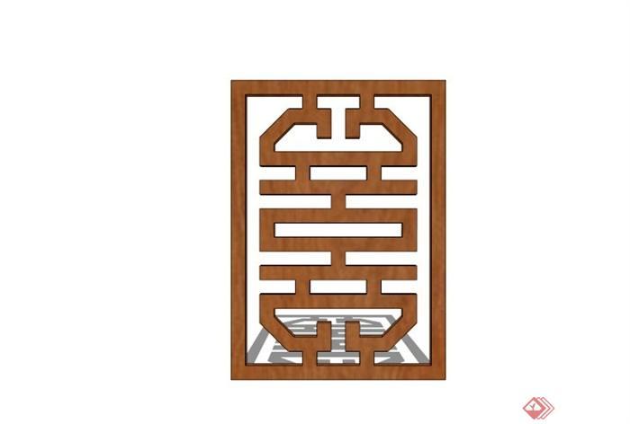 现代中式木镂空窗花su模型(3)