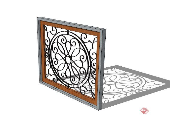 某铁艺镂空窗花设计su模型(1)