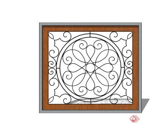 某铁艺镂空窗花设计su模型(3)