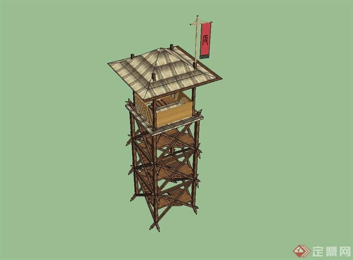 古典中式全木质瞭望塔设计su模型