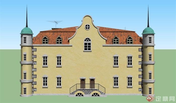 欧式红砖两层住宅建筑设计su模型(3)