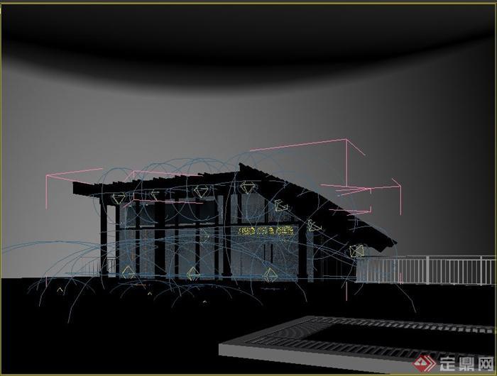 某现代风格小木屋建筑设计3d模型含效果图(2)
