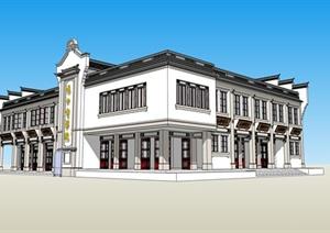 某古典中式风格电影院建筑设计SU(草图大师)模型