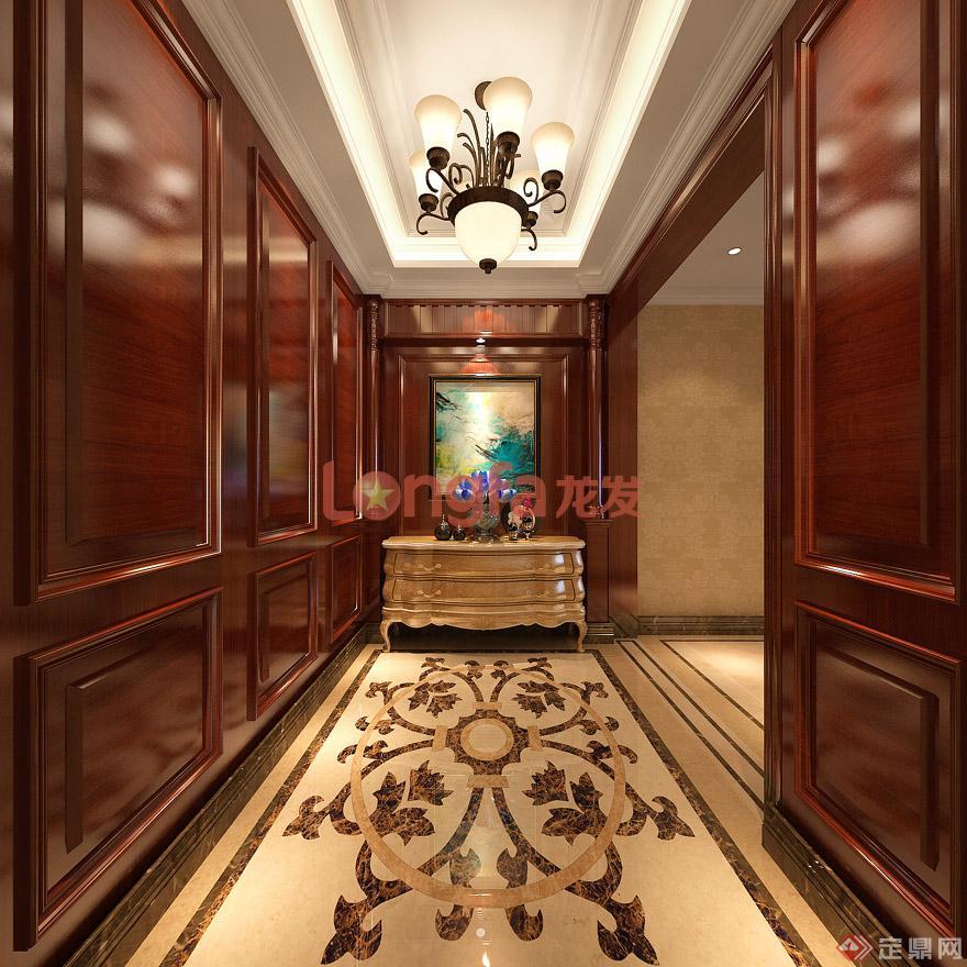 入户门厅端景墙 过道 欧式新古典 装修效果图】图片来源于:西安龙发