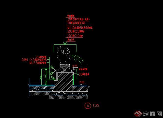 现代矩形喷泉水池设计CAD施工图