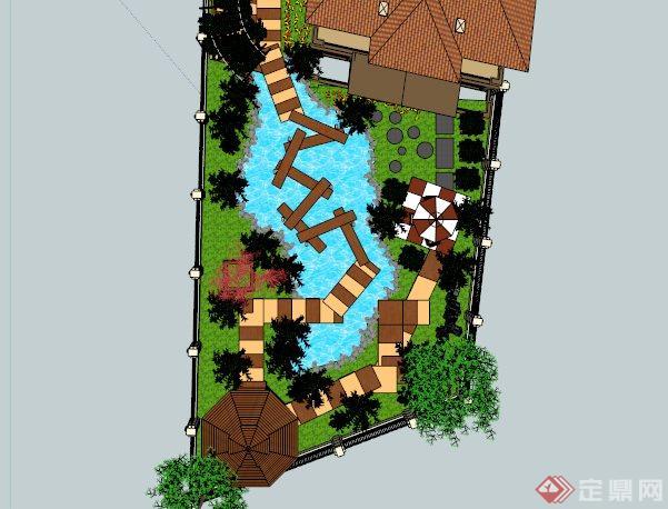 某现代中式别墅庭院景观设计SU模型
